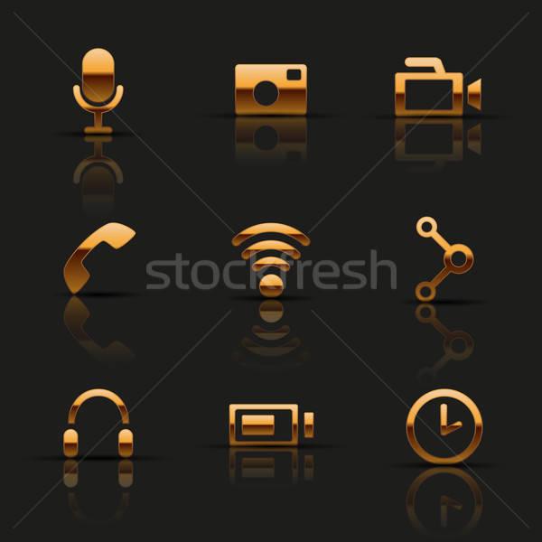 Golden web icons set. Vector illustration. Stock photo © AbsentA