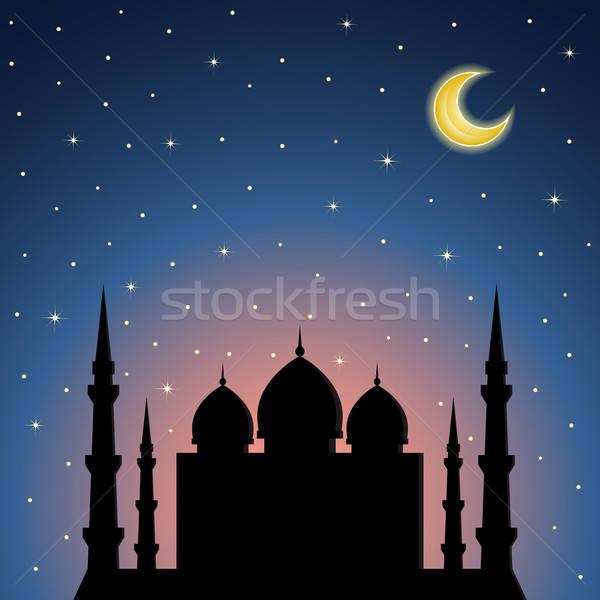 éjszaka mecset sziluett égbolt naplemente fény Stock fotó © AbsentA