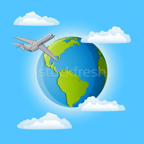 Reis rond wereld natuur aarde vliegtuig Stockfoto © AbsentA