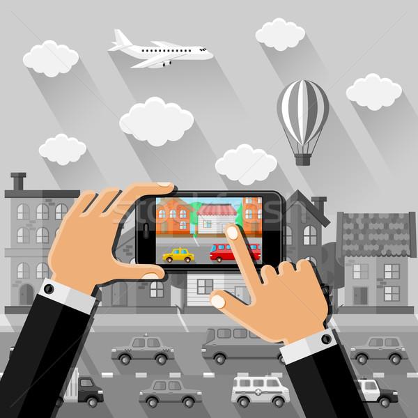 Handen foto straat smartphone stad technologie Stockfoto © AbsentA