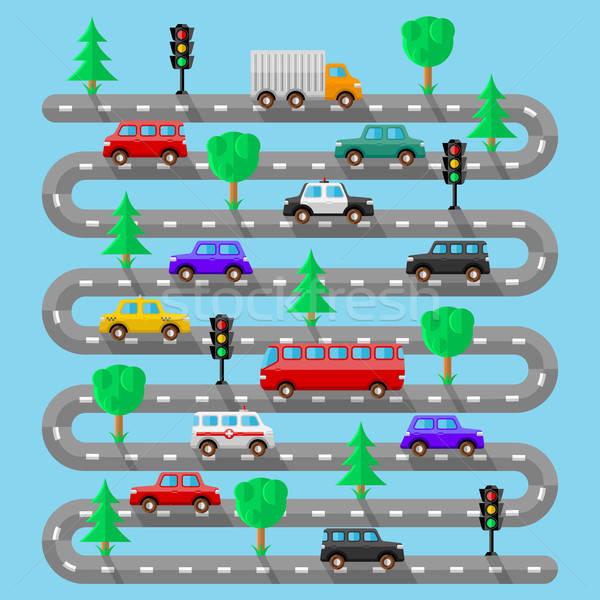 Snelweg voertuigen ontwerp boom stad reizen Stockfoto © AbsentA