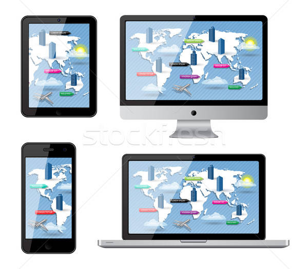 Isoliert Gadgets Straßenkarte eps10 Gebäude Karte Stock foto © AbsentA