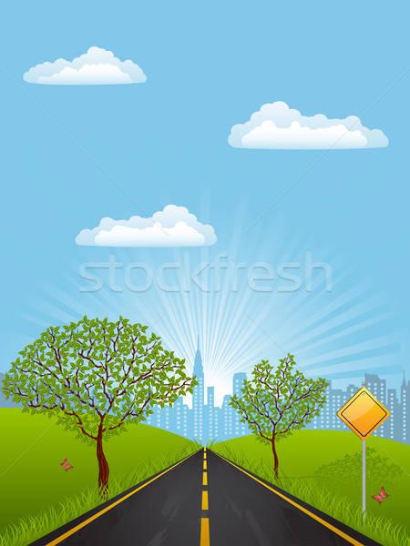 été paysage arbre herbe route bâtiment Photo stock © AbsentA