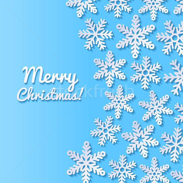 Résumé flocons de neige neige fond bleu rétro Photo stock © AbsentA
