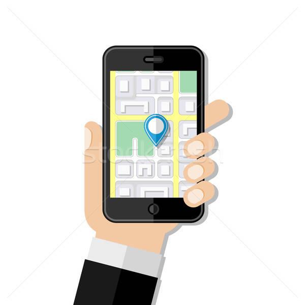 Navigáció terv út internet férfi utca Stock fotó © AbsentA