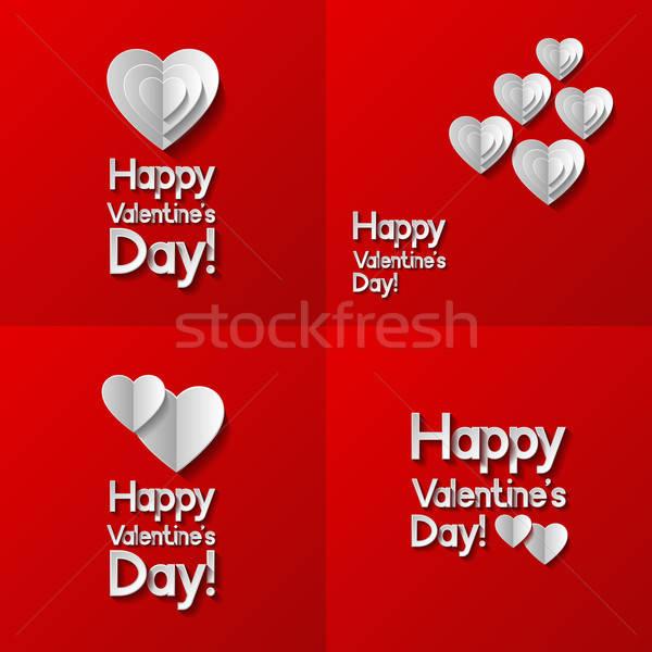 Ingesteld valentijnsdag groet kaarten hart ontwerp Stockfoto © AbsentA