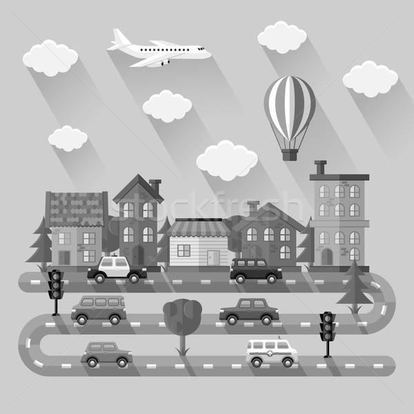 City landscape. Flat design. Vector illustration. Stock photo © AbsentA