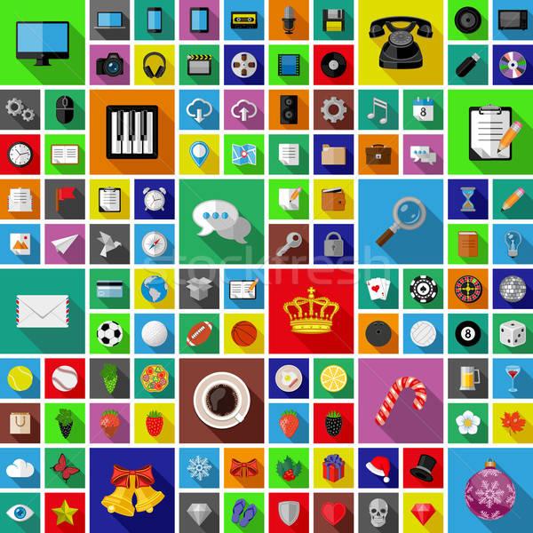 Conjunto universal ícones longo sombra projeto Foto stock © AbsentA