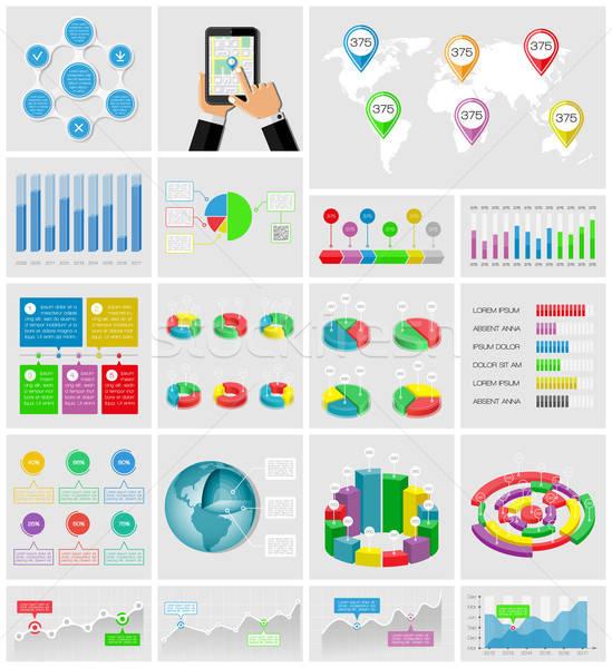Ui elemek infografika gyűjtemény telefon internet Stock fotó © AbsentA
