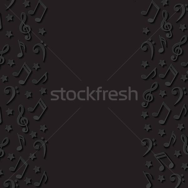 Absztrakt hangjegyek zene papír háttér keret Stock fotó © AbsentA
