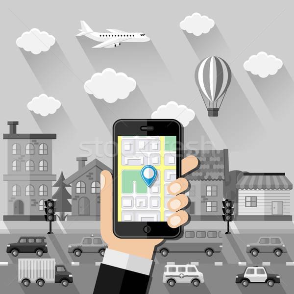 Navigáció terv út internet férfi város Stock fotó © AbsentA