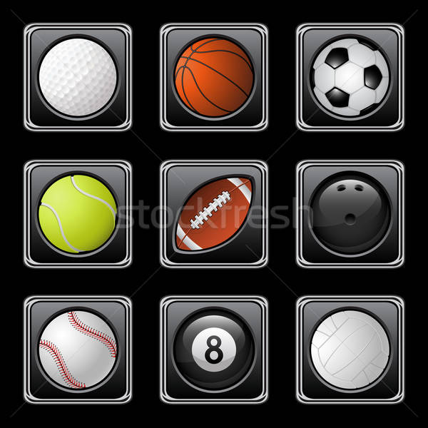 Sports balls icons Stock photo © AbsentA