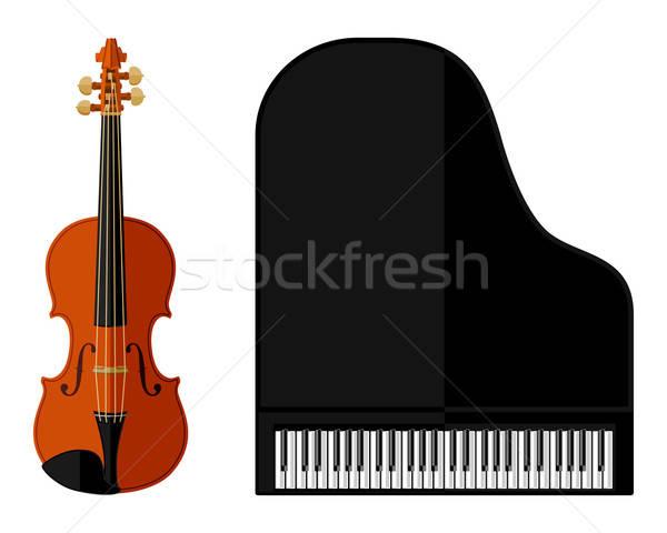 Izolált kép hegedű hangversenyzongora terv zene Stock fotó © AbsentA