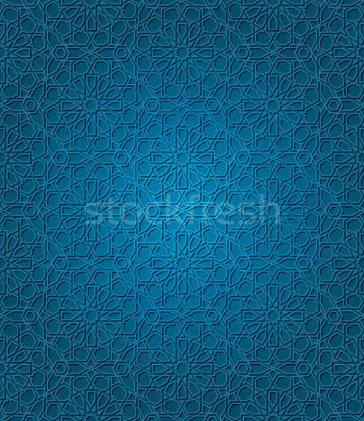 Foto stock: Tradicional · ornamento · abstrato · fundo · azul