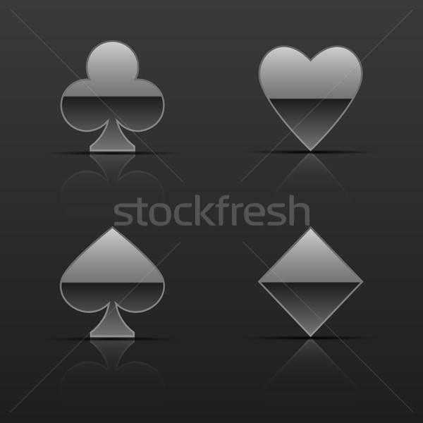 Prata cartões ícones metal terno Foto stock © AbsentA
