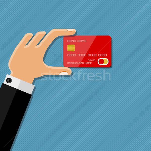 Main carte de crédit design argent homme Photo stock © AbsentA