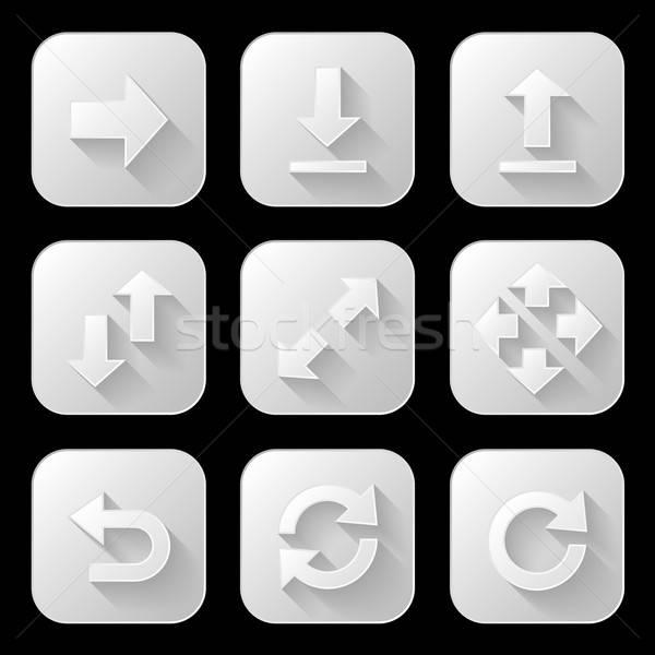 Ingesteld pijl iconen lang schaduw business Stockfoto © AbsentA