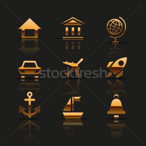 Stockfoto: Gouden · web · icons · ingesteld · auto · internet · wereld
