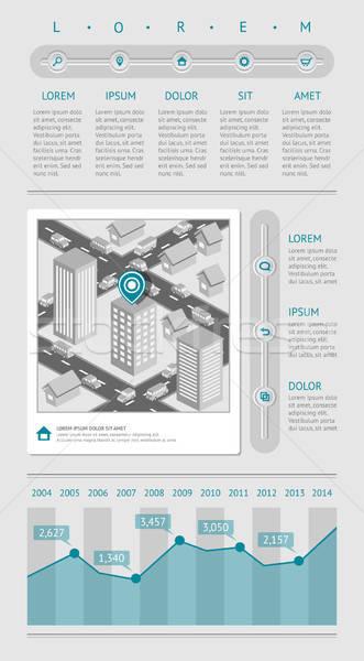 Infografika háló elemek eps10 vektor térkép Stock fotó © AbsentA