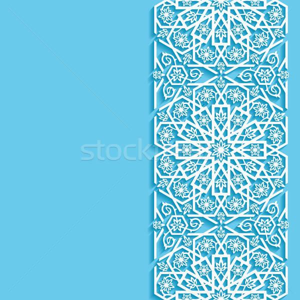 Streszczenie wschodniej kwiatowy wzór papieru tle Zdjęcia stock © AbsentA