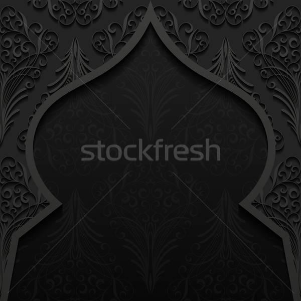 Abstract traditioneel ornament ontwerp zwarte retro Stockfoto © AbsentA
