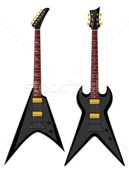 Metaal elektrische gitaar zwarte retro witte Stockfoto © AbsentA