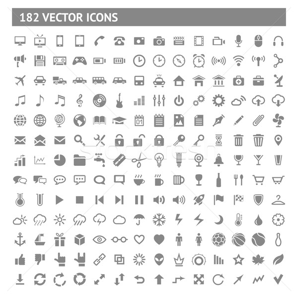 182 icons and pictograms set. EPS10 vector illustration. Stock photo © AbsentA