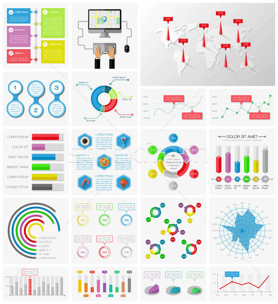 Ui infographie ensemble bureau internet Photo stock © AbsentA
