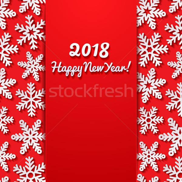 Happy new year tebrik kartı kar arka plan kış kırmızı Stok fotoğraf © AbsentA