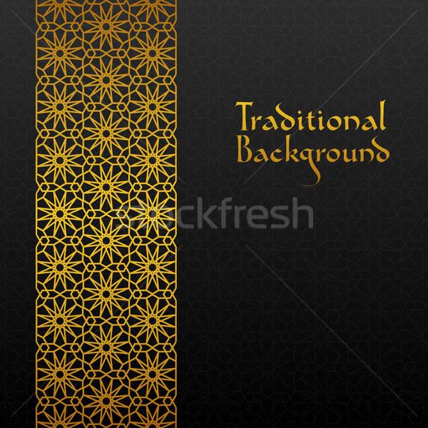 Résumé traditionnel ornement noir or rétro Photo stock © AbsentA