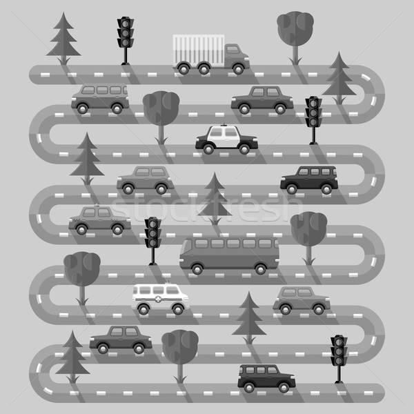 Karayolu araçlar dizayn manzara sokak kamyon Stok fotoğraf © AbsentA
