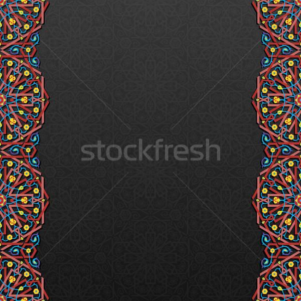 цветочный традиционный орнамент текстуры дизайна черный Сток-фото © AbsentA
