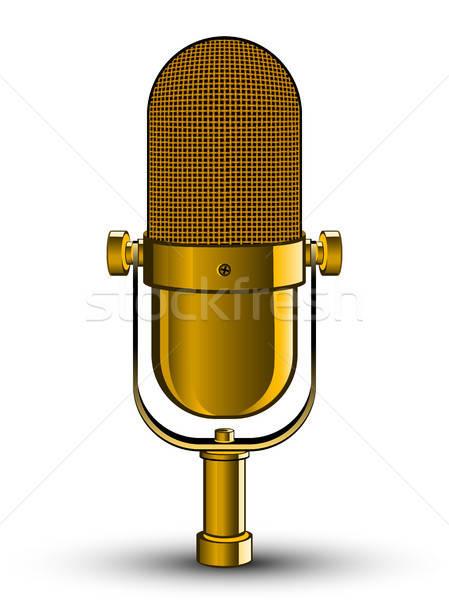 Realistisch geïsoleerd afbeelding gouden microfoon muziek Stockfoto © AbsentA