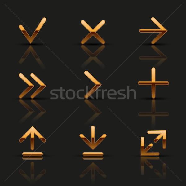 Ingesteld gouden iconen business technologie Stockfoto © AbsentA