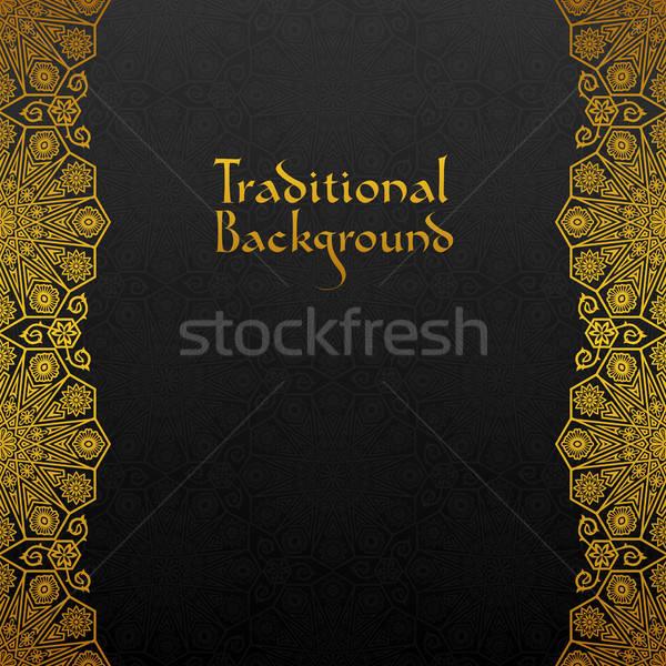 Сток-фото: цветочный · кадр · традиционный · орнамент · дизайна · черный