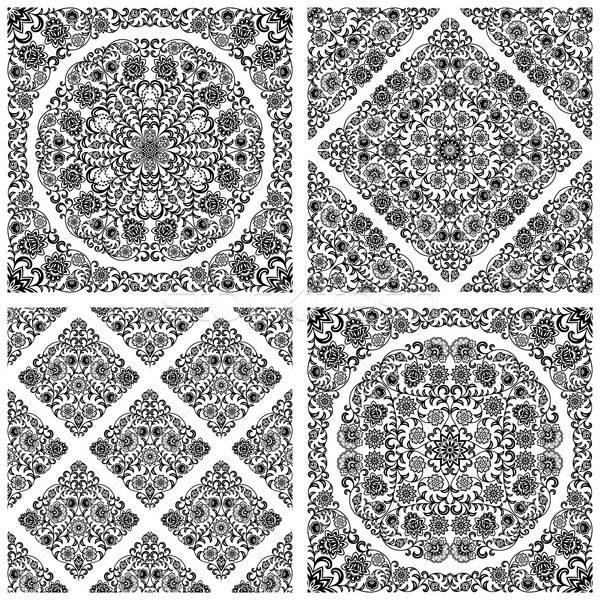 Ingesteld naadloos patronen abstract zwarte Stockfoto © AbsentA