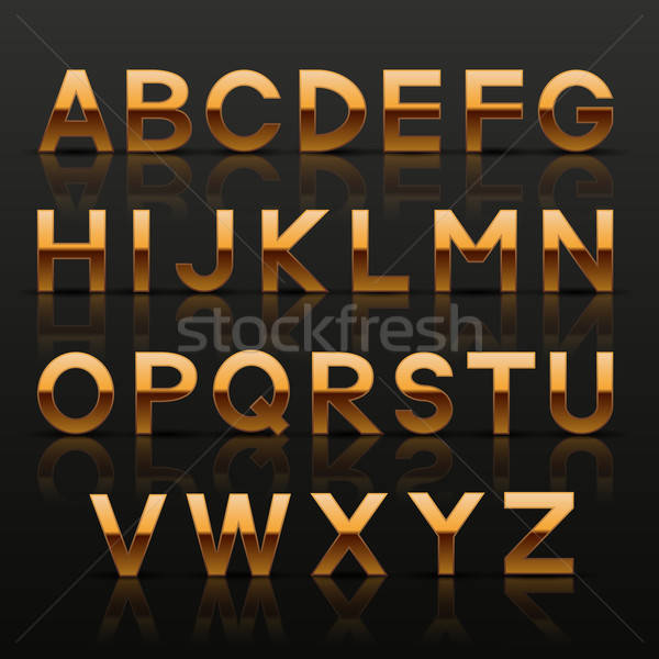 Decorativo dourado alfabeto projeto metal assinar Foto stock © AbsentA