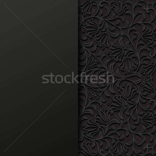 Stockfoto: Abstract · zwarte · retro · behang · plant