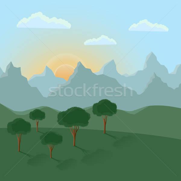 Zomer landschap bergen hemel boom voorjaar Stockfoto © AbsentA
