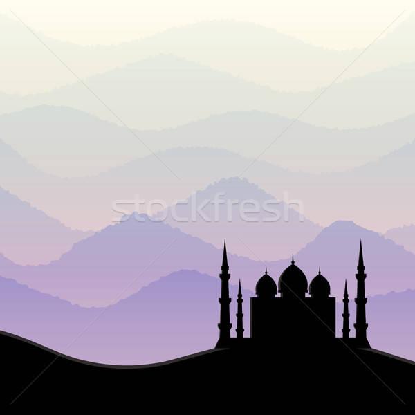 Sunrise mosquée silhouette paysage noir asian Photo stock © AbsentA