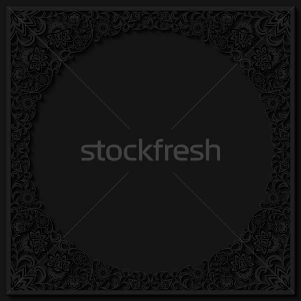 Abstract frame papier achtergrond zwarte Stockfoto © AbsentA