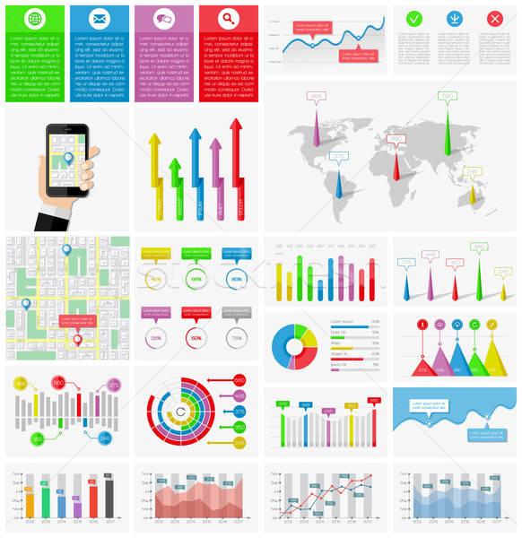 Ui elementos infografía colección Internet mapa Foto stock © AbsentA