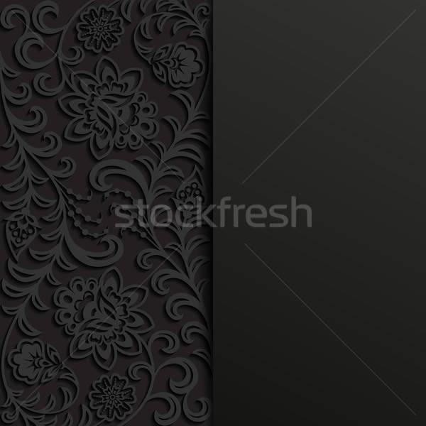 аннотация цветочный черный ретро обои завода Сток-фото © AbsentA