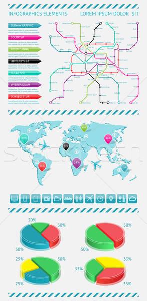 Infografica elementi mappa del mondo eps10 auto mondo Foto d'archivio © AbsentA