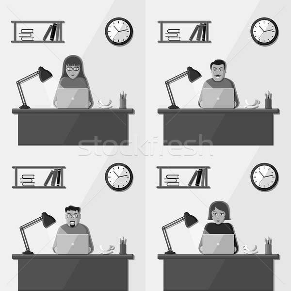 Pessoas que trabalham escritório pessoas trabalhando escritório conjunto vetor Foto stock © AbsentA