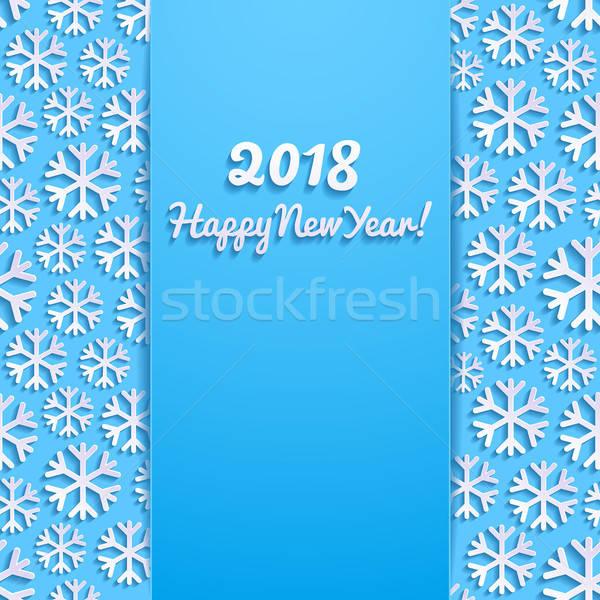 с Новым годом снега фон зима синий Сток-фото © AbsentA