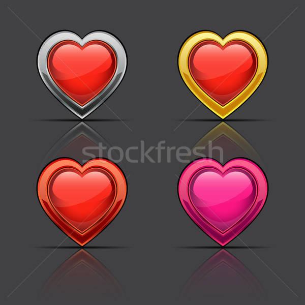 Ingesteld glanzend harten bruiloft gelukkig achtergrond Stockfoto © AbsentA