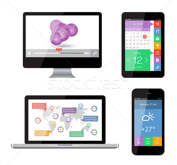 Isolated gadgets with ui and web elements including flat design. EPS10 vector illustration. Stock photo © AbsentA