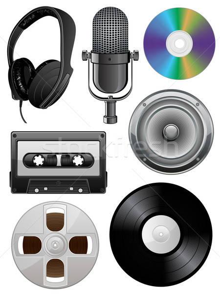 Musique art orateur casque rétro Photo stock © AbsentA