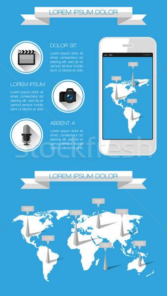 Ui infografía web elementos mapa mundo Foto stock © AbsentA